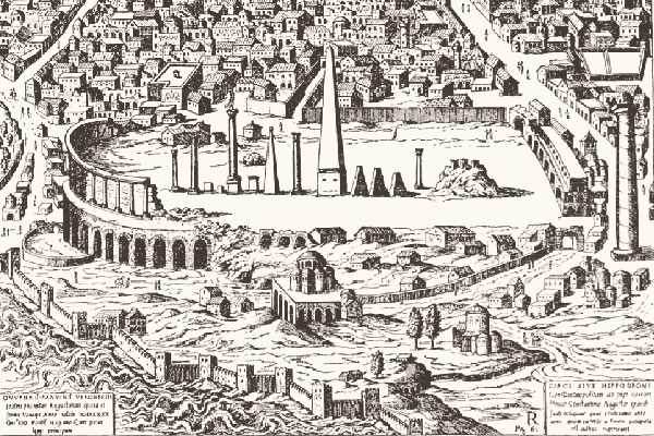 An engraving of the Hippodrome from De ludis circensibus by Onofrio Panvinio (Venice, 1600) showing the view in about 1453.