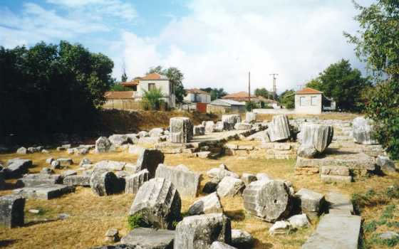 The remains of the Temple of Athena in Tegea showing the platform upon which Eduardo Ferrucci sat to ponder the riddle.