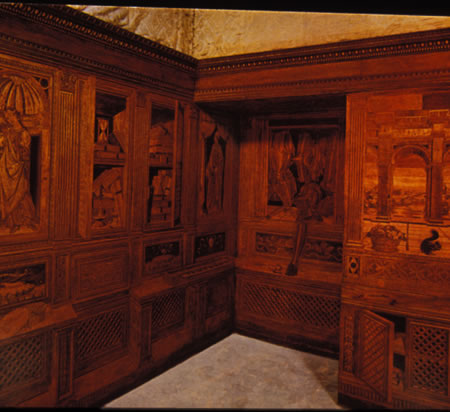 The Studiolo of the Duke of Urbino is at present in the Metropolitan Museum of Art in New York City.